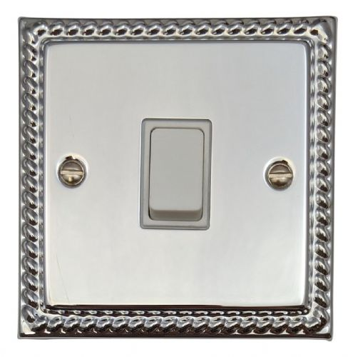 G&H MC1W Monarch Roped Polished Chrome 1 Gang 1 or 2 Way Rocker Light Switch